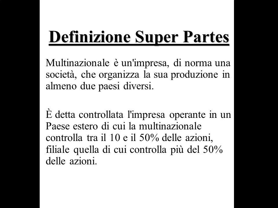 Definizione Super Partes Multinazionale è un'impresa, di norma una società, che organizza la sua produzione in almeno due paesi diversi. È detta contr