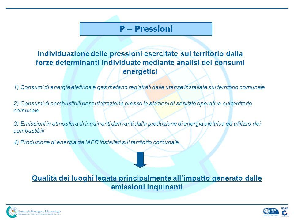 P – Pressioni Individuazione delle pressioni esercitate sul territorio dalla forze determinanti individuate mediante analisi dei consumi energetici 1)