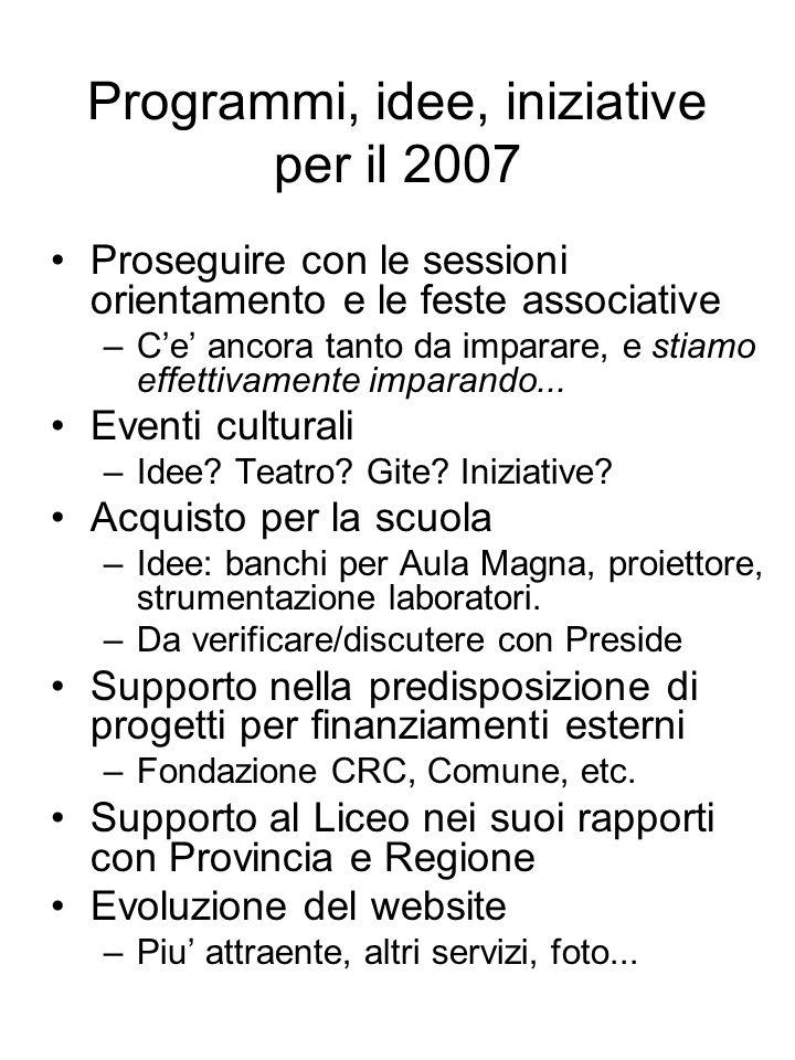 Programmi, idee, iniziative per il 2007 Proseguire con le sessioni orientamento e le feste associative –Ce ancora tanto da imparare, e stiamo effettivamente imparando...