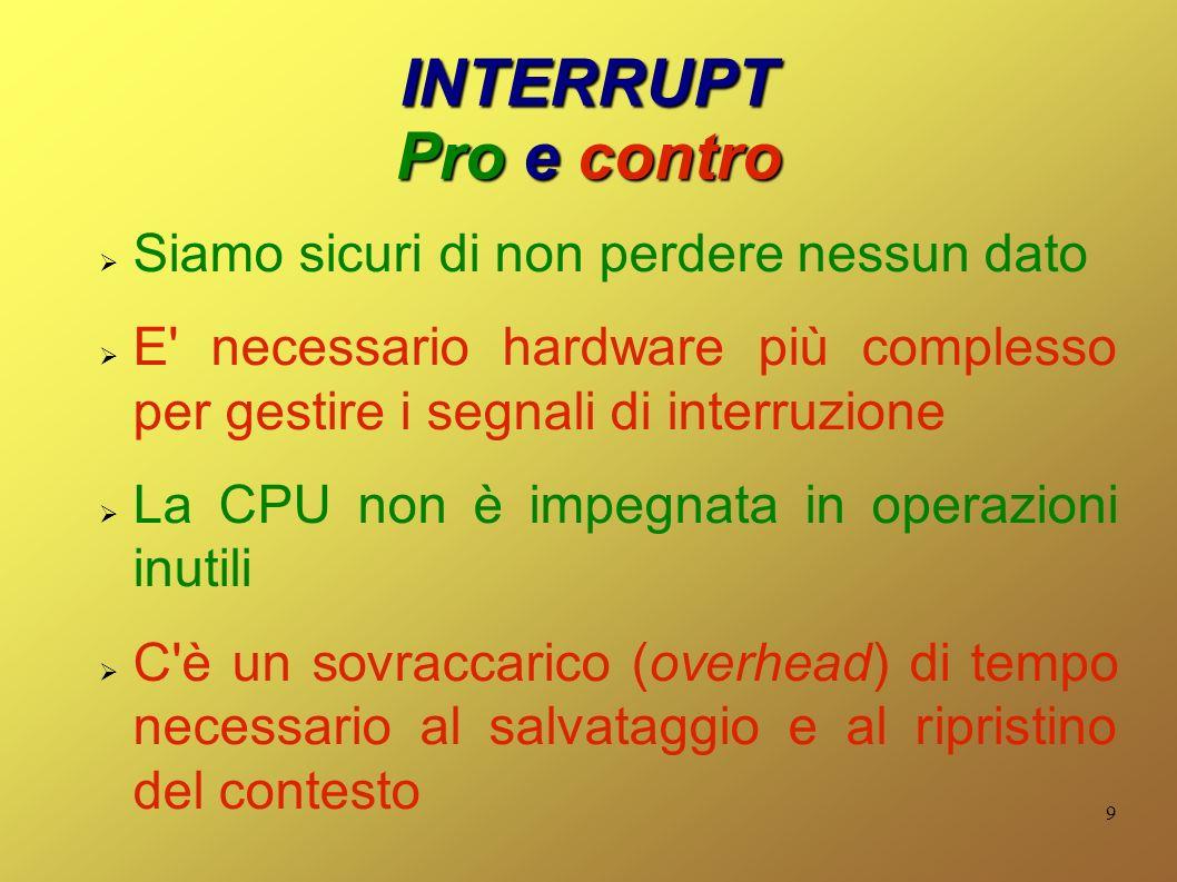 9 INTERRUPT Pro e contro Siamo sicuri di non perdere nessun dato E necessario hardware più complesso per gestire i segnali di interruzione La CPU non è impegnata in operazioni inutili C è un sovraccarico (overhead) di tempo necessario al salvataggio e al ripristino del contesto