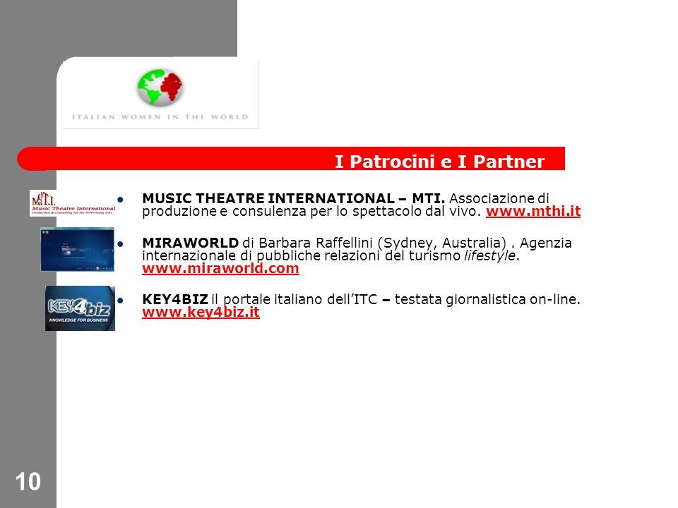 10 MUSIC THEATRE INTERNATIONAL – MTI. Associazione di produzione e consulenza per lo spettacolo dal vivo. www.mthi.itwww.mthi.it MIRAWORLD di Barbara