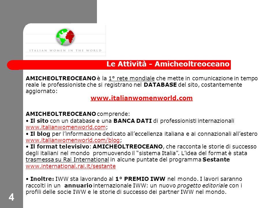4 Le Attività - Amicheoltreoceano AMICHEOLTREOCEANO è la 1° rete mondiale che mette in comunicazione in tempo reale le professioniste che si registrano nel DATABASE del sito, costantemente aggiornato: www.italianwomenworld.com AMICHEOLTREOCEANO comprende: Il sito con un database e una BANCA DATI di professionisti internazionali www.italianwomenworld.com; www.italianwomenworld.com Il blog per linformazione dedicato alleccellenza italiana e ai connazionali allestero www.italianwomenworld.com/blog; www.italianwomenworld.com/blog Il format televisivo: AMICHEOLTREOCEANO, che racconta le storie di successo degli italiani nel mondo promuovendo il sistema Italia.