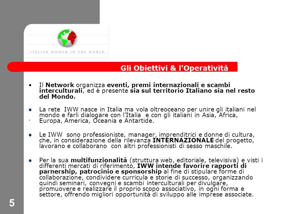 5 Il Network organizza eventi, premi internazionali e scambi interculturali, ed è presente sia sul territorio Italiano sia nel resto del Mondo.