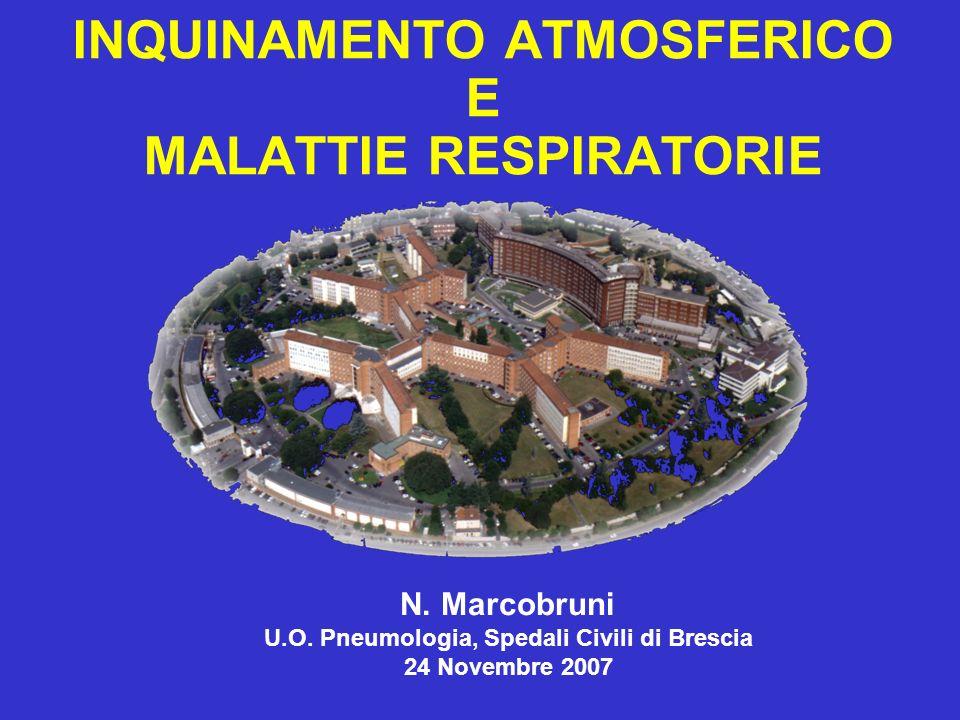 INQUINAMENTO ATMOSFERICO E MALATTIE RESPIRATORIE N. Marcobruni U.O. Pneumologia, Spedali Civili di Brescia 24 Novembre 2007