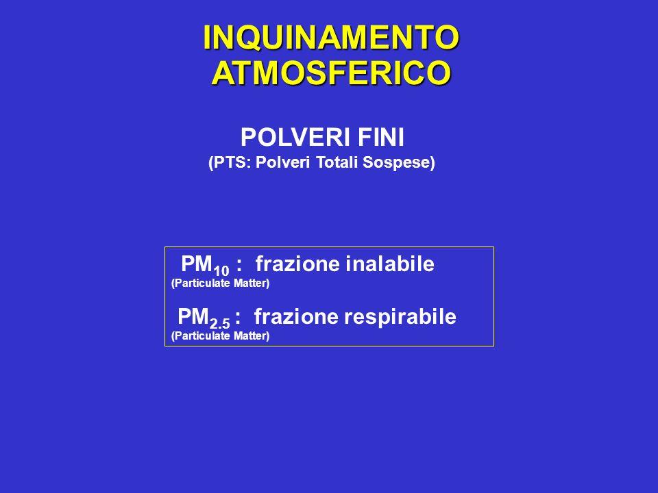 INQUINAMENTOATMOSFERICO POLVERI FINI (PTS: Polveri Totali Sospese) PM 10 : frazione inalabile (Particulate Matter) PM 2.5 : frazione respirabile (Part