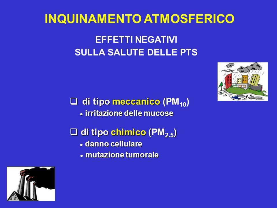 EFFETTI NEGATIVI SULLA SALUTE DELLE PTS INQUINAMENTO ATMOSFERICO di tipo meccanico ( di tipo meccanico (PM 10 ) irritazione delle mucose irritazione d