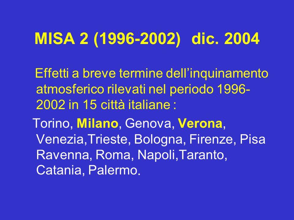 MISA 2 (1996-2002) dic. 2004 Effetti a breve termine dellinquinamento atmosferico rilevati nel periodo 1996- 2002 in 15 città italiane : Torino, Milan