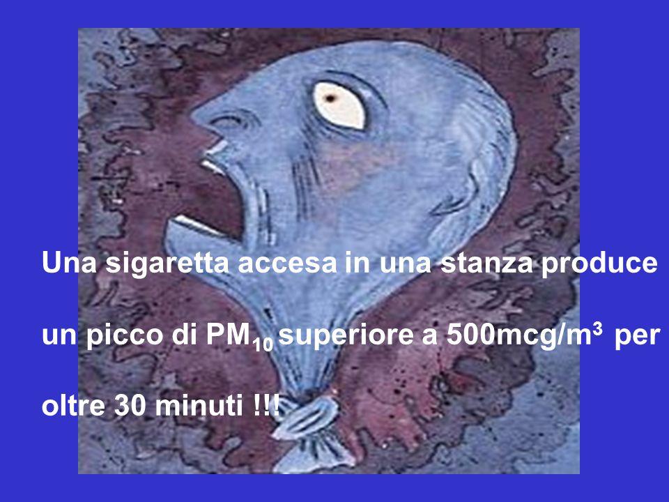Una sigaretta accesa in una stanza produce un picco di PM 10 superiore a 500mcg/m 3 per oltre 30 minuti !!!
