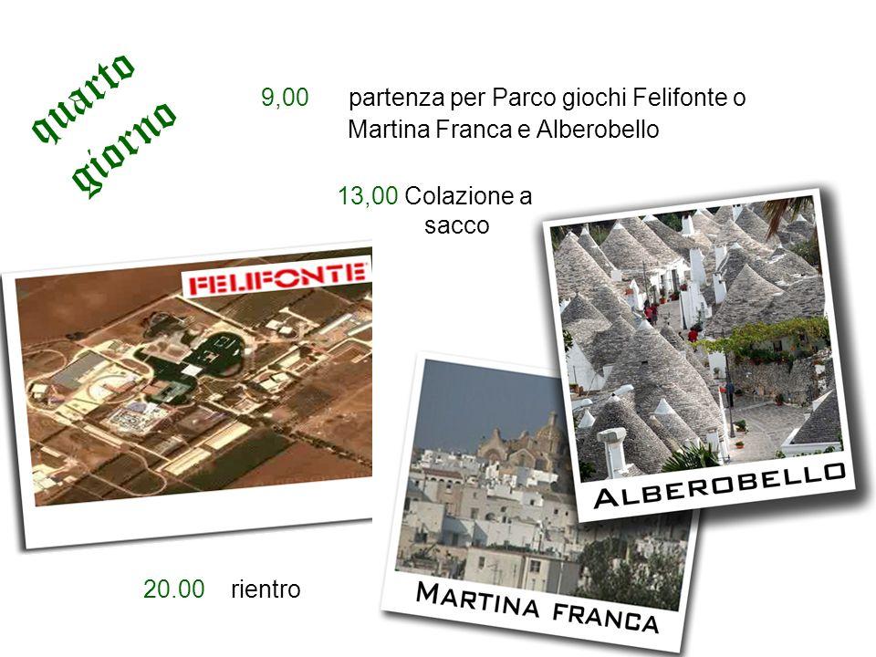 9,00 partenza per Parco giochi Felifonte o Martina Franca e Alberobello 13,00 Colazione a sacco 20.00rientro quarto giorno