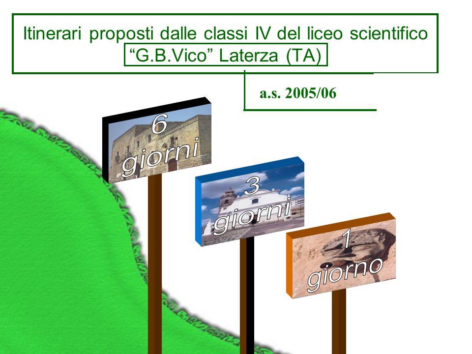 Itinerari proposti dalle classi IV del liceo scientifico G.B.Vico Laterza (TA) a.s. 2005/06