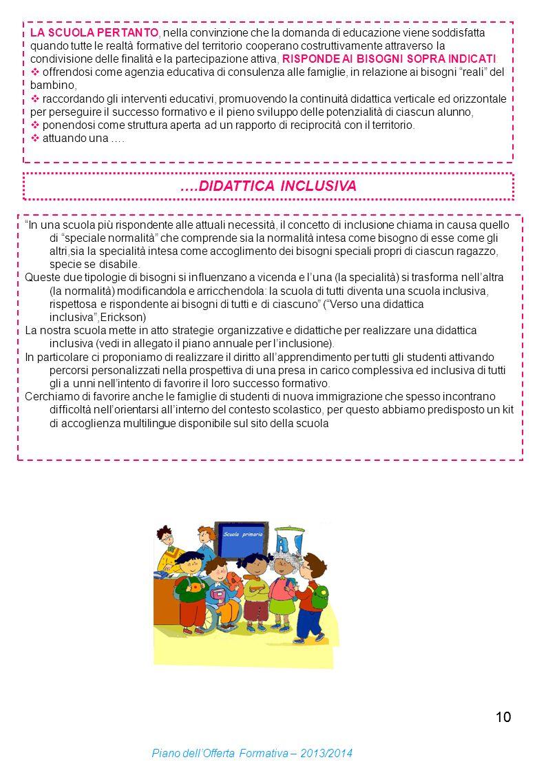 10 LA SCUOLA PERTANTO, nella convinzione che la domanda di educazione viene soddisfatta quando tutte le realtà formative del territorio cooperano cost