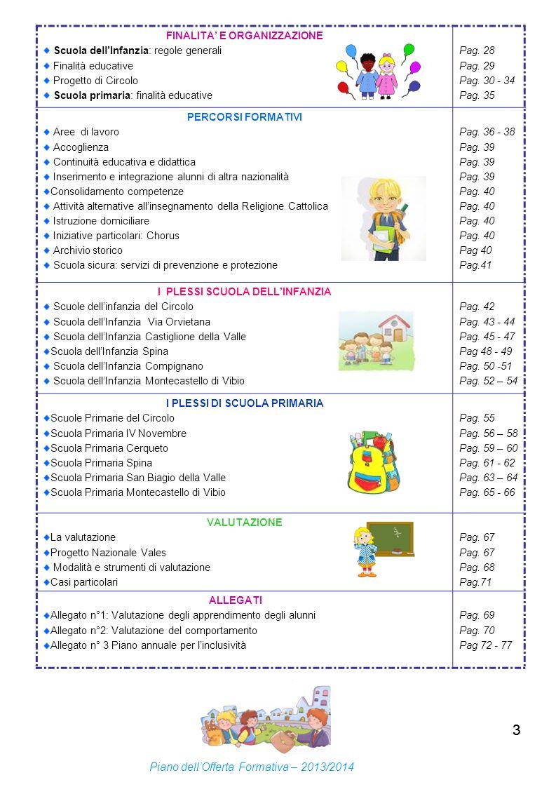 33 FINALITA E ORGANIZZAZIONE Scuola dellInfanzia: regole generali Finalità educative Progetto di Circolo Scuola primaria: finalità educative Pag. 28 P