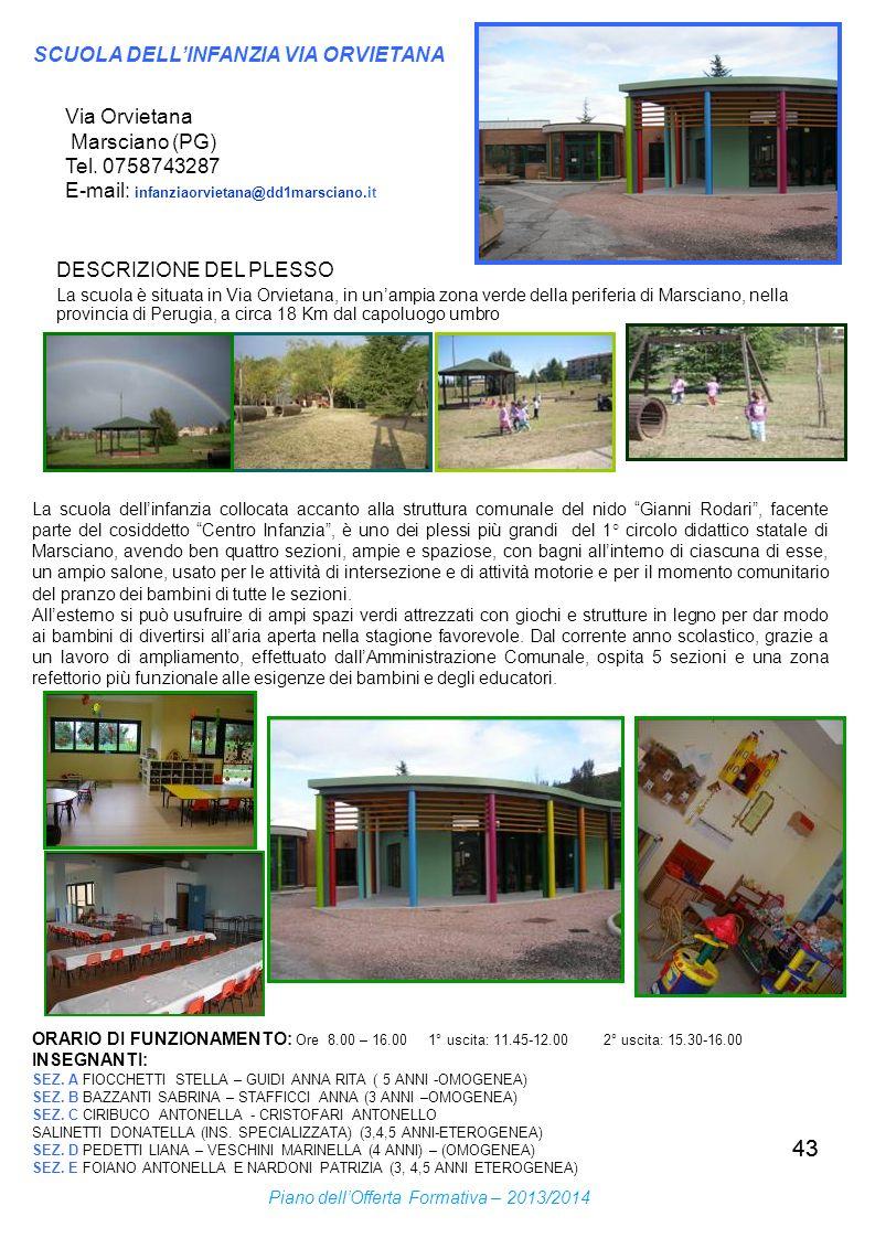 43 Via Orvietana Marsciano (PG) Tel. 0758743287 E-mail: infanziaorvietana@dd1marsciano.it DESCRIZIONE DEL PLESSO La scuola dellinfanzia collocata acca
