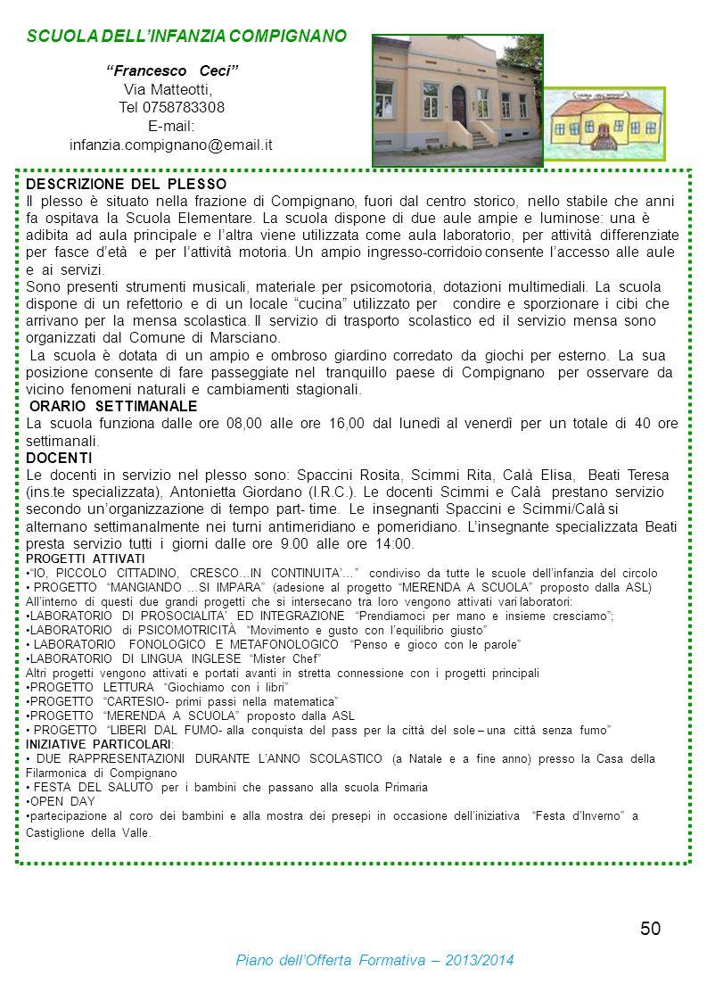 50 SCUOLA DELLINFANZIA COMPIGNANO Francesco Ceci Via Matteotti, Tel 0758783308 E-mail: infanzia.compignano@email.it DESCRIZIONE DEL PLESSO Il plesso è