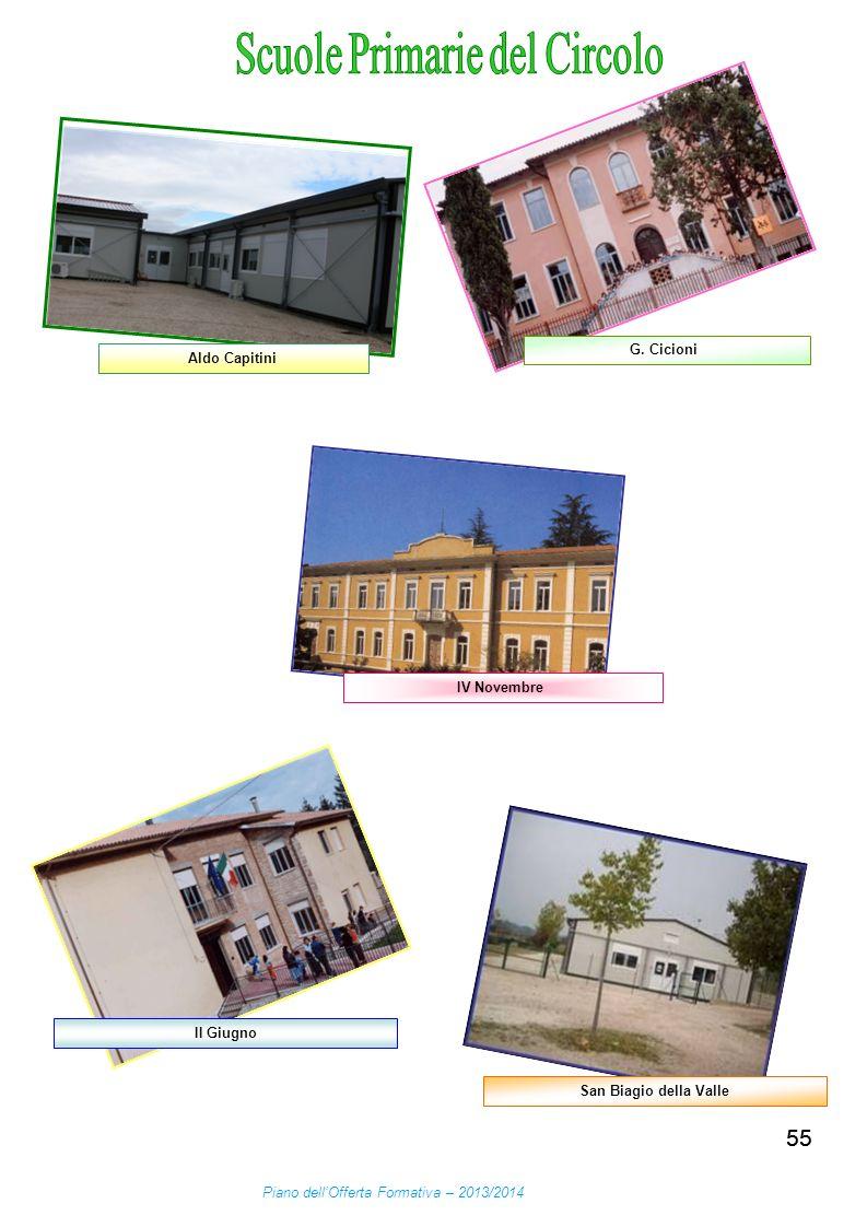 55 Aldo Capitini G. Cicioni II Giugno San Biagio della Valle Piano dellOfferta Formativa – 2013/2014 IV Novembre