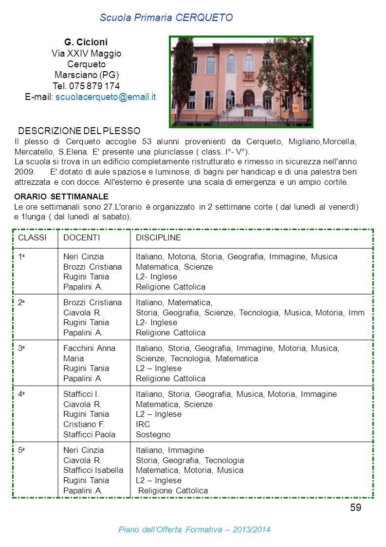 59 DESCRIZIONE DEL PLESSO Scuola Primaria CERQUETO G. Cicioni Via XXIV Maggio Cerqueto Marsciano (PG) Tel. 075 879 174 E-mail: scuolacerqueto@email.it