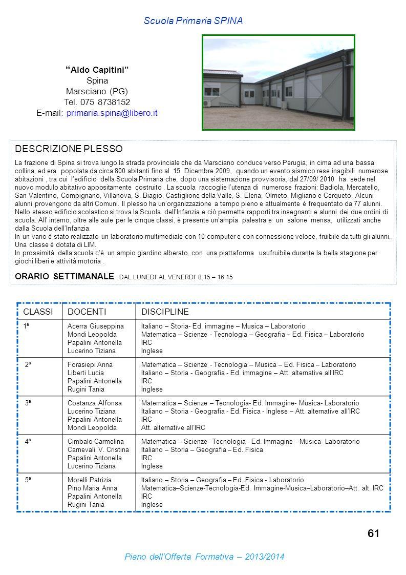 61 Scuola Primaria SPINA Aldo Capitini Spina Marsciano (PG) Tel. 075 8738152 E-mail: primaria.spina@libero.it DESCRIZIONE PLESSO La frazione di Spina
