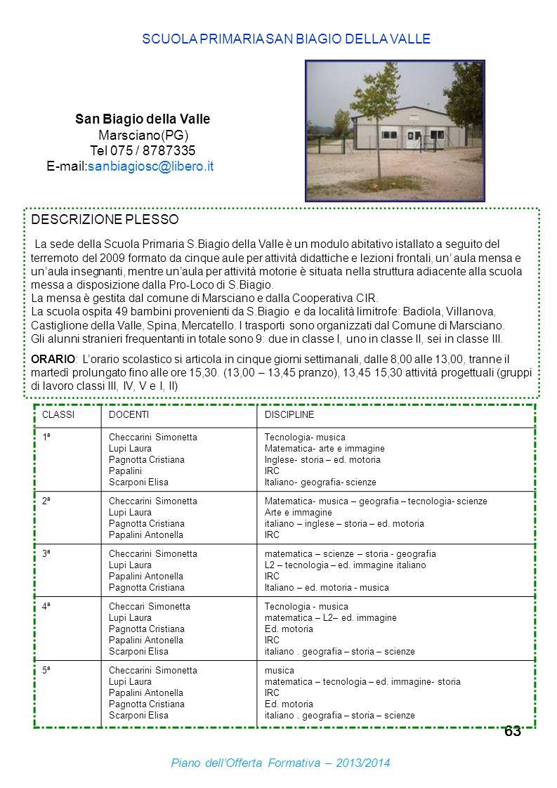63 SCUOLA PRIMARIA SAN BIAGIO DELLA VALLE San Biagio della Valle Marsciano(PG) Tel 075 / 8787335 E-mail:sanbiagiosc@libero.it DESCRIZIONE PLESSO La se