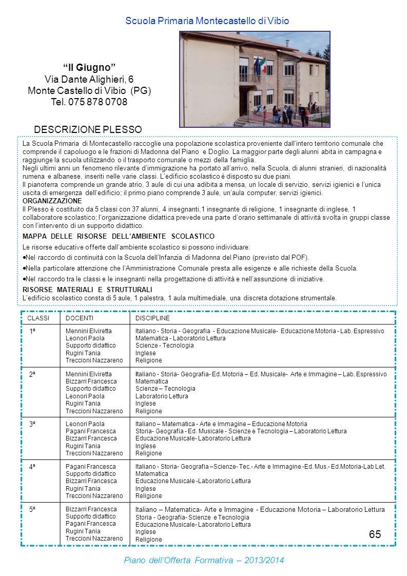 65 II Giugno Via Dante Alighieri, 6 Monte Castello di Vibio (PG) Tel. 075 878 0708 Scuola Primaria Montecastello di Vibio DESCRIZIONE PLESSO La Scuola