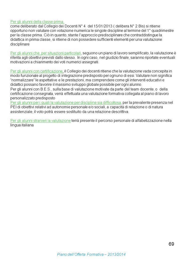 69 Per gli alunni della classe prima, come deliberato dal Collegio dei Docenti N° 4 del 15/01/2013 ( delibera N° 2 Bis) si ritiene opportuno non valut