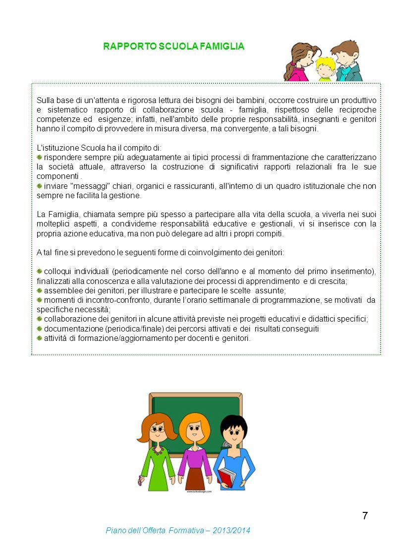 77 RAPPORTO SCUOLA FAMIGLIA Sulla base di un'attenta e rigorosa lettura dei bisogni dei bambini, occorre costruire un produttivo e sistematico rapport
