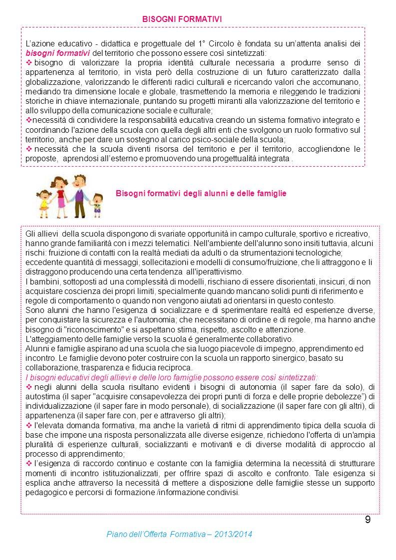 9 BISOGNI FORMATIVI Lazione educativo - didattica e progettuale del 1° Circolo è fondata su unattenta analisi dei bisogni formativi del territorio che
