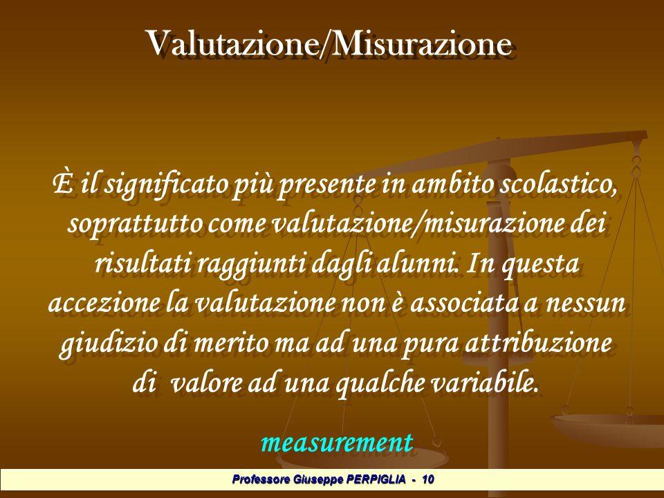 Professore Giuseppe PERPIGLIA - 10 Valutazione/Misurazione È il significato più presente in ambito scolastico, soprattutto come valutazione/misurazione dei risultati raggiunti dagli alunni.