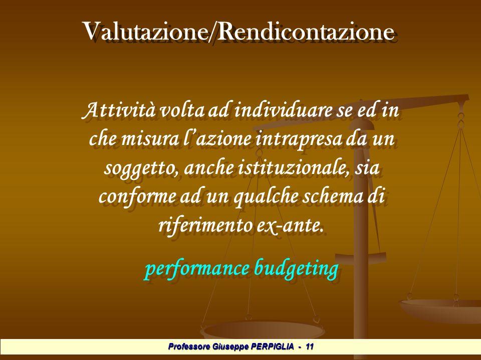 Professore Giuseppe PERPIGLIA - 11 Valutazione/Rendicontazione Attività volta ad individuare se ed in che misura lazione intrapresa da un soggetto, anche istituzionale, sia conforme ad un qualche schema di riferimento ex-ante.