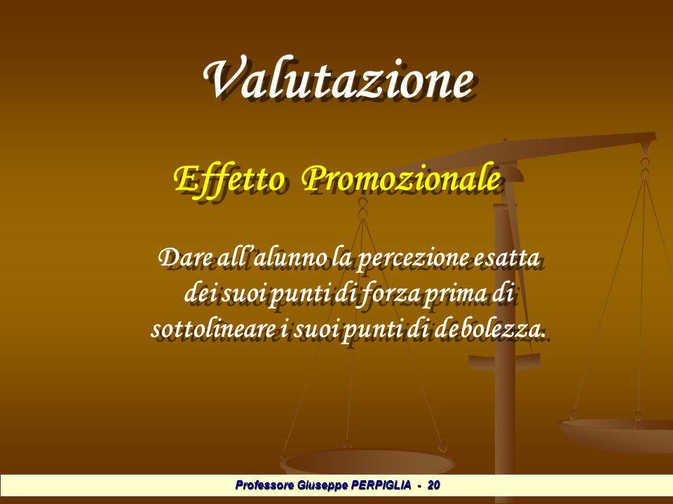 Professore Giuseppe PERPIGLIA - 20 Valutazione Valutazione Effetto Promozionale Effetto Promozionale Dare allalunno la percezione esatta dei suoi punti di forza prima di sottolineare i suoi punti di debolezza.