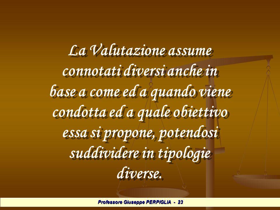 Professore Giuseppe PERPIGLIA - 23 La Valutazione assume connotati diversi anche in base a come ed a quando viene condotta ed a quale obiettivo essa si propone, potendosi suddividere in tipologie diverse.
