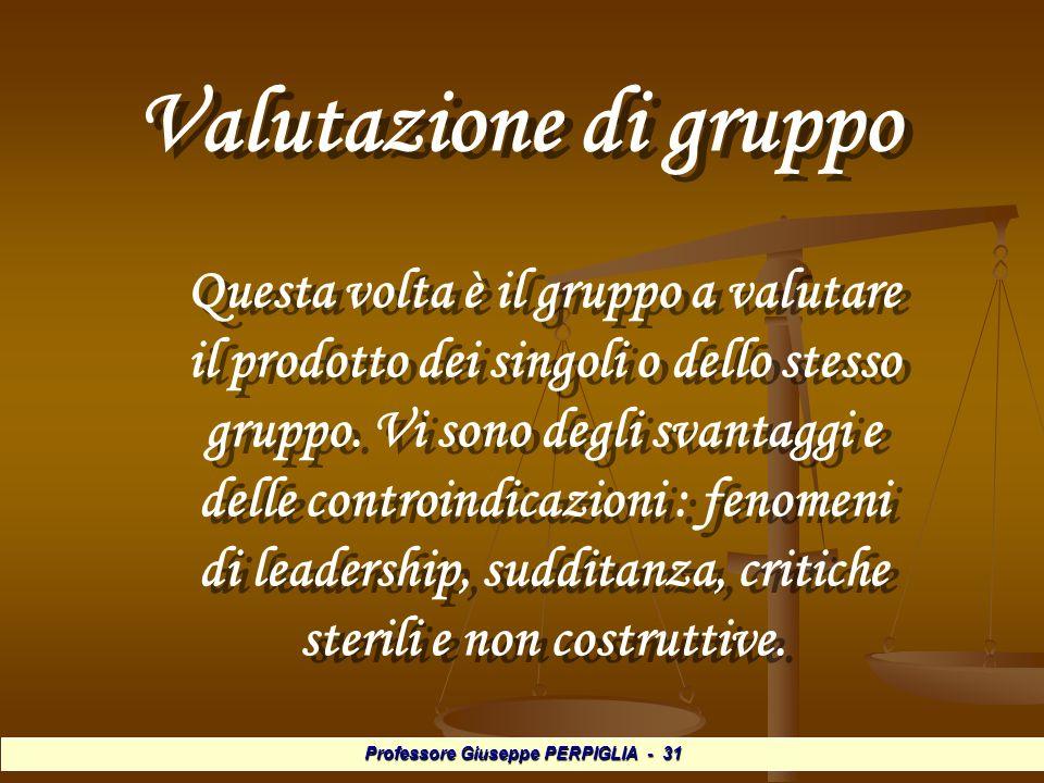 Professore Giuseppe PERPIGLIA - 31 Valutazione di gruppo Valutazione di gruppo Questa volta è il gruppo a valutare il prodotto dei singoli o dello stesso gruppo.