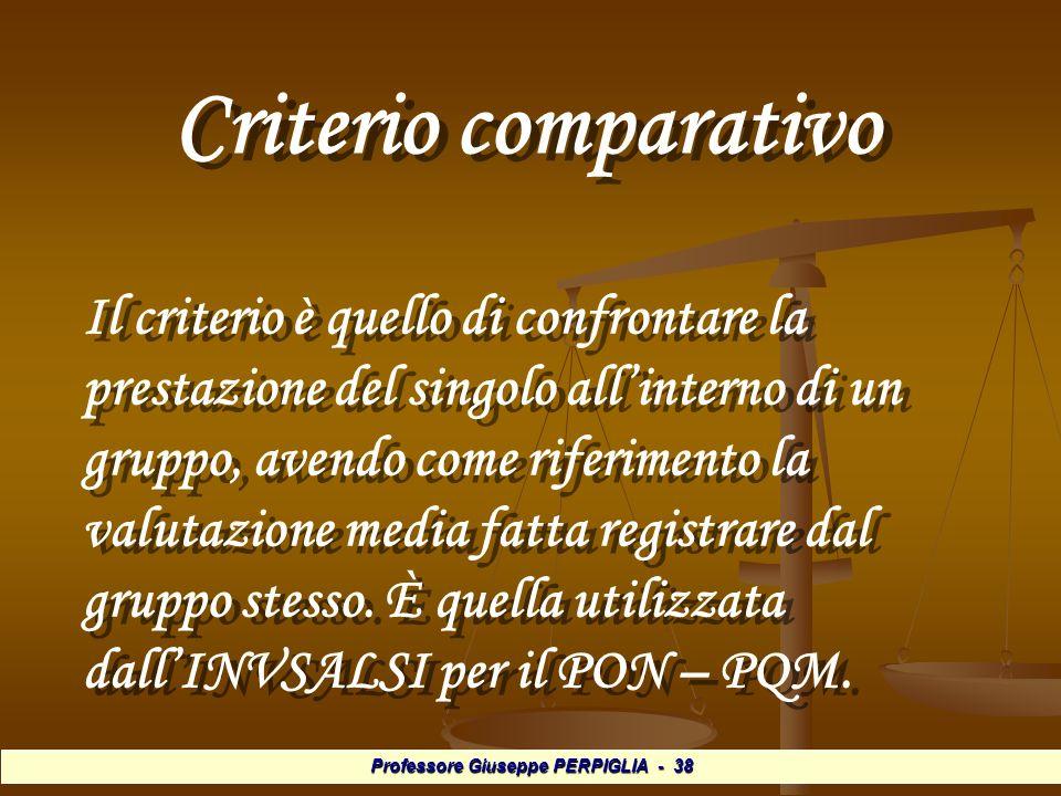 Professore Giuseppe PERPIGLIA - 38 Criterio comparativo Criterio comparativo Il criterio è quello di confrontare la prestazione del singolo allinterno di un gruppo, avendo come riferimento la valutazione media fatta registrare dal gruppo stesso.