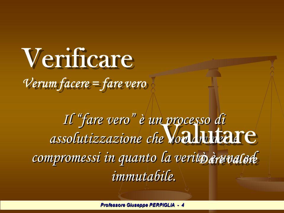 Professore Giuseppe PERPIGLIA - 4 Verificare Verum facere = fare vero Verificare Verum facere = fare vero Il fare vero è un processo di assolutizzazione che non ammette compromessi in quanto la verità è una ed immutabile.