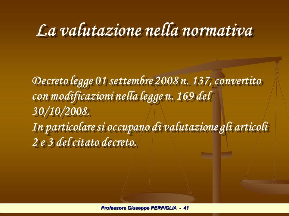 Professore Giuseppe PERPIGLIA - 41 La valutazione nella normativa La valutazione nella normativa Decreto legge 01 settembre 2008 n.