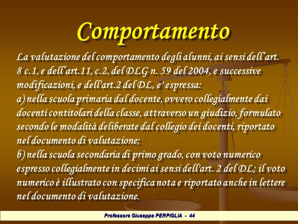Professore Giuseppe PERPIGLIA - 44 Comportamento Comportamento La valutazione del comportamento degli alunni, ai sensi dellart.