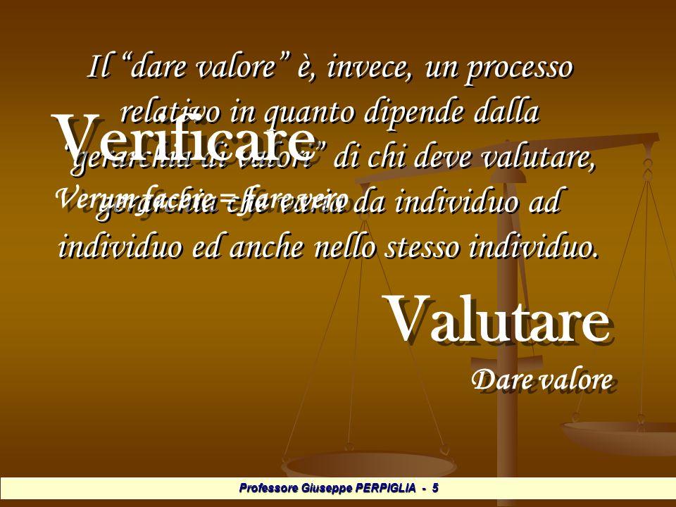 Professore Giuseppe PERPIGLIA - 36 Valutazione certificativa o sommativa Valutazione certificativa o sommativa È quella usata più spesso.