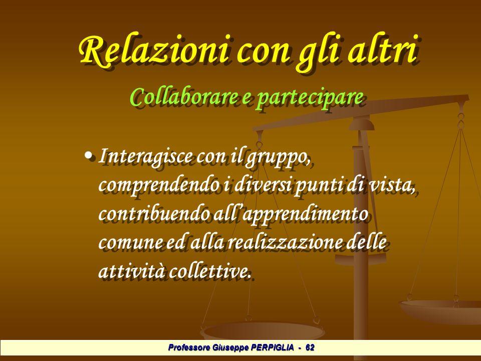 Professore Giuseppe PERPIGLIA - 62 Relazioni con gli altri Collaborare e partecipare Collaborare e partecipare Interagisce con il gruppo, comprendendo i diversi punti di vista, contribuendo allapprendimento comune ed alla realizzazione delle attività collettive.