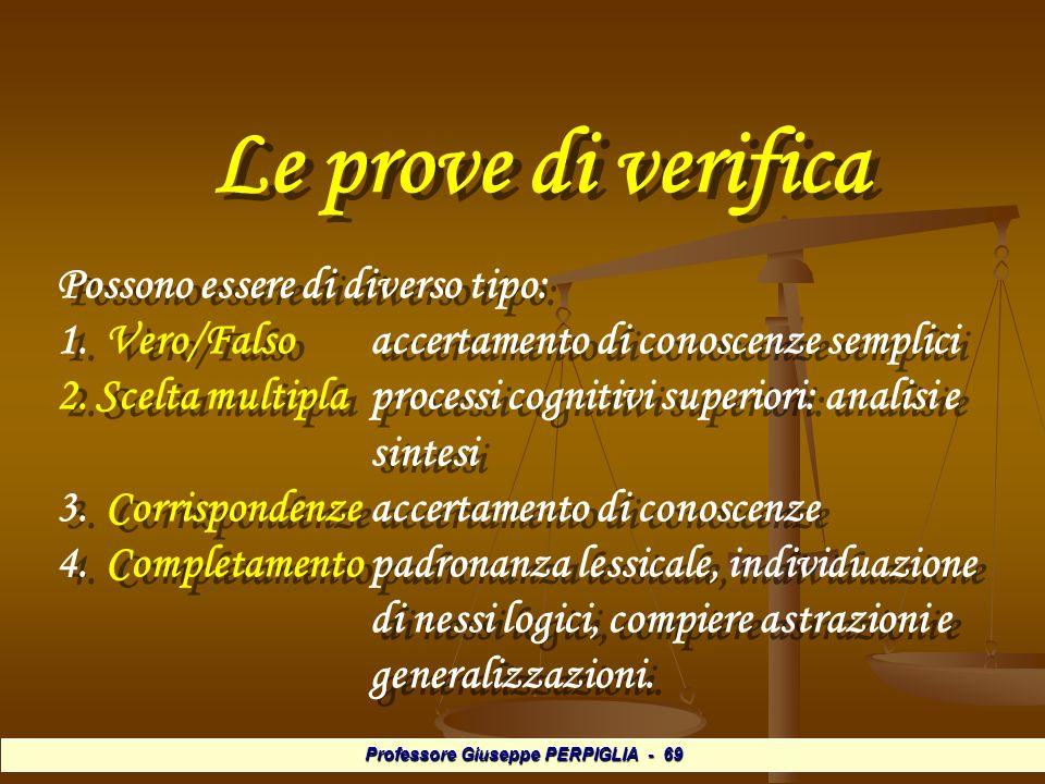 Professore Giuseppe PERPIGLIA - 69 Le prove di verifica Possono essere di diverso tipo: 1.