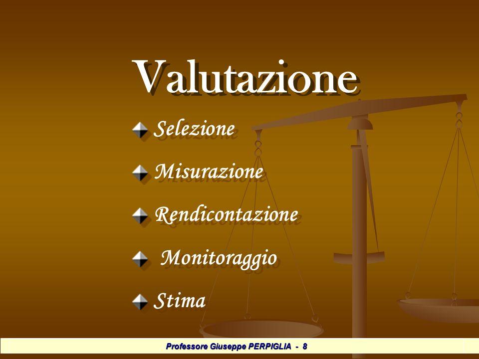 Professore Giuseppe PERPIGLIA - 8 Valutazione Valutazione Selezione Misurazione Rendicontazione Monitoraggio Stima Selezione Misurazione Rendicontazione Monitoraggio Stima