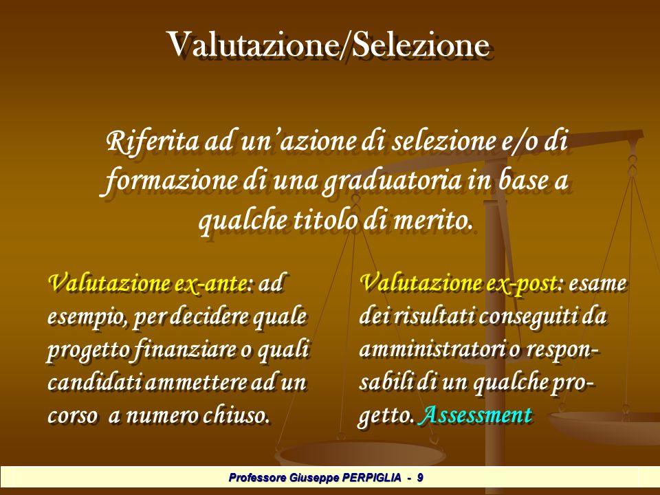 Professore Giuseppe PERPIGLIA - 30 Valutazione tra pari Valutazione tra pari In questo caso lalunno fa valutare il proprio lavoro ed i propri processi da altri allievi e, allo stesso modo, egli valuta quello degli altri.