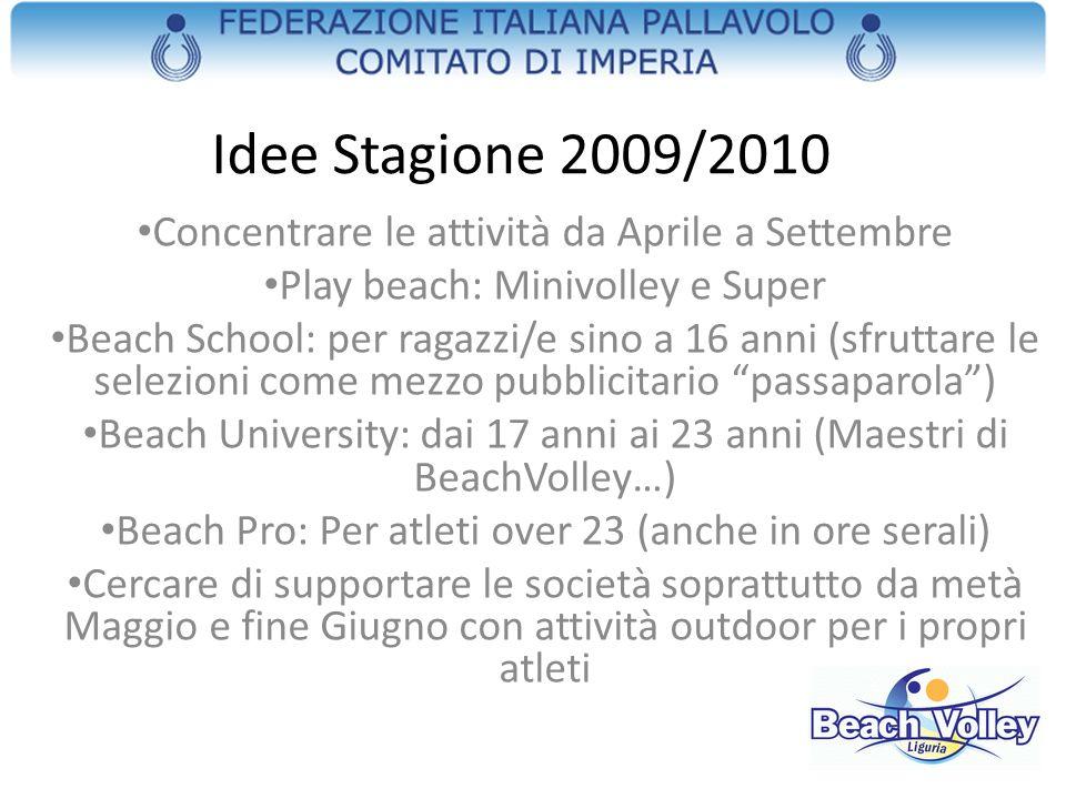 Idee Stagione 2009/2010 Concentrare le attività da Aprile a Settembre Play beach: Minivolley e Super Beach School: per ragazzi/e sino a 16 anni (sfrut