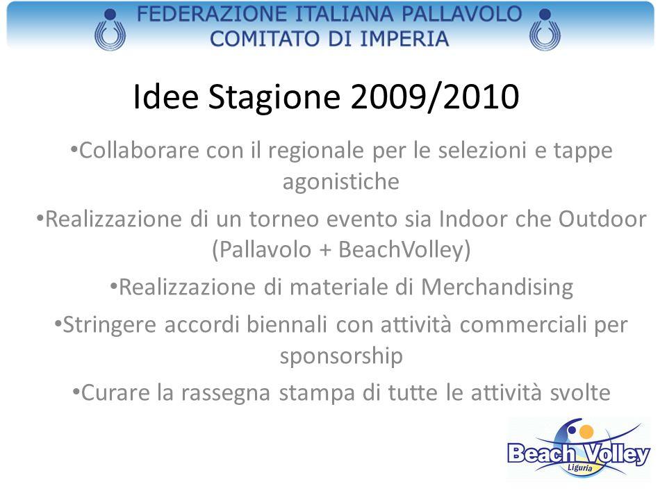 Idee Stagione 2009/2010 Collaborare con il regionale per le selezioni e tappe agonistiche Realizzazione di un torneo evento sia Indoor che Outdoor (Pa