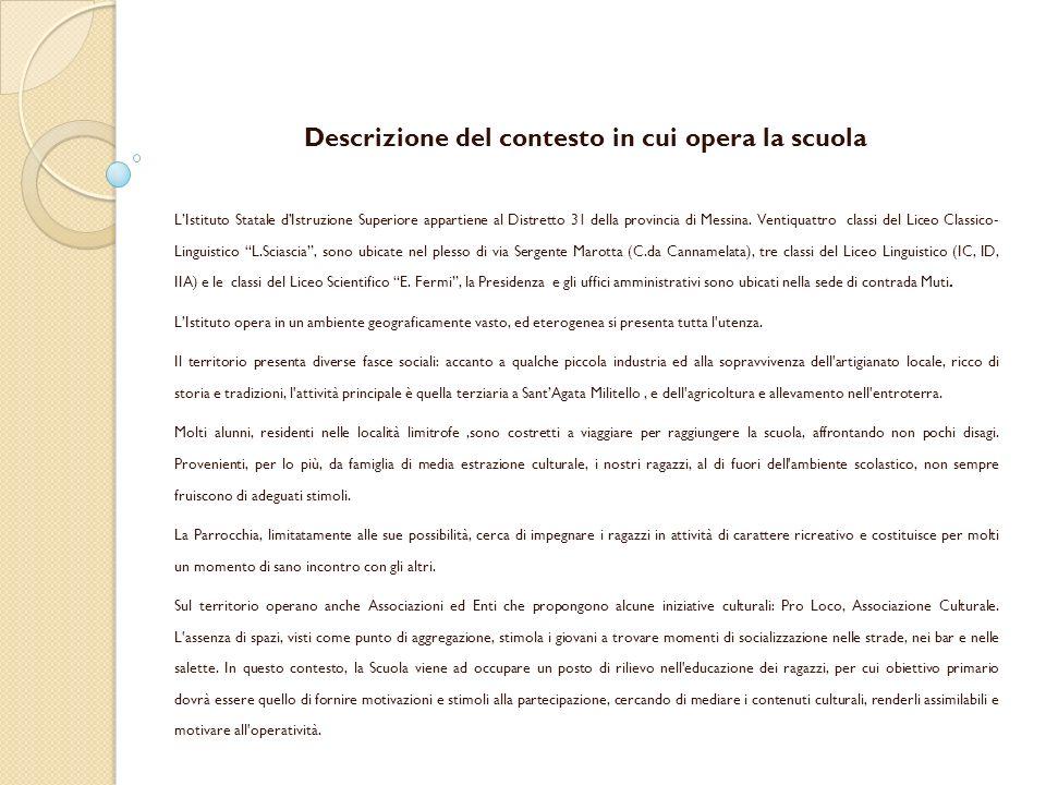 Descrizione del contesto in cui opera la scuola LIstituto Statale dIstruzione Superiore appartiene al Distretto 31 della provincia di Messina.