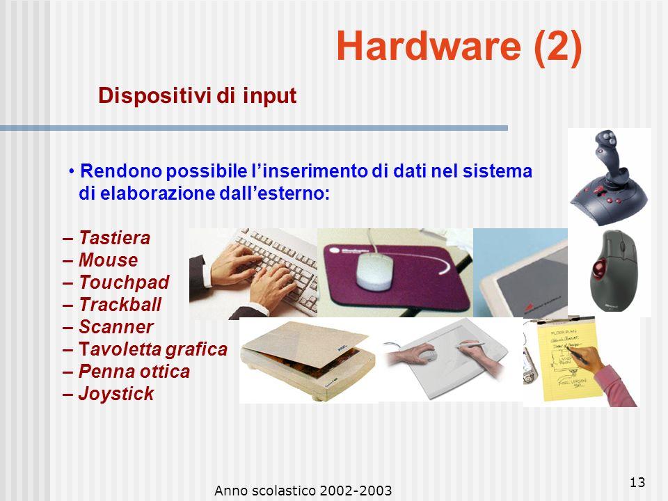Anno scolastico 2002-2003 12 Hardware (1) Lunità centrale è anche detta CPU (Central Processing Unit) ed è il dispositivo hardware che esegue le opera