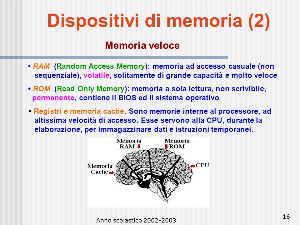 Anno scolastico 2002-2003 15 Dispositivi di memoria (1) Memoria di massa Hard-disk: di solito interni, ma anche esterni; uno o più dischi, ognuno orga