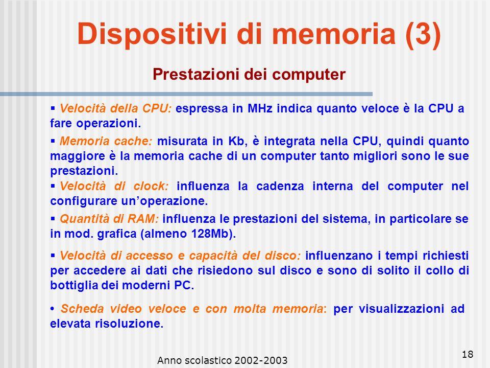 Anno scolastico 2002-2003 17 Dispositivi di memoria (2) Unità di misura della memoria Per i diversi tipi di memoria si usa lo stesso sistema di misura