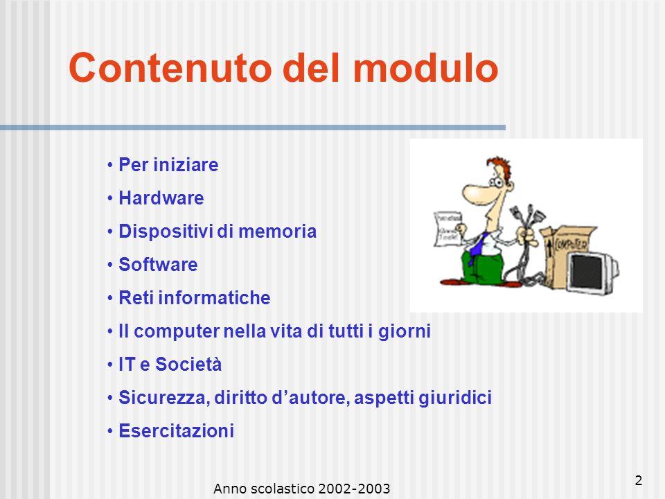 Anno scolastico 2002-20031 CORSO DI FORMAZIONE C.M. 55/2002 PERCORSO FORMATIVO A CODICE CORSO: MIAA1094 Tutor: Enrica Massa Modulo 1 Concetti di base