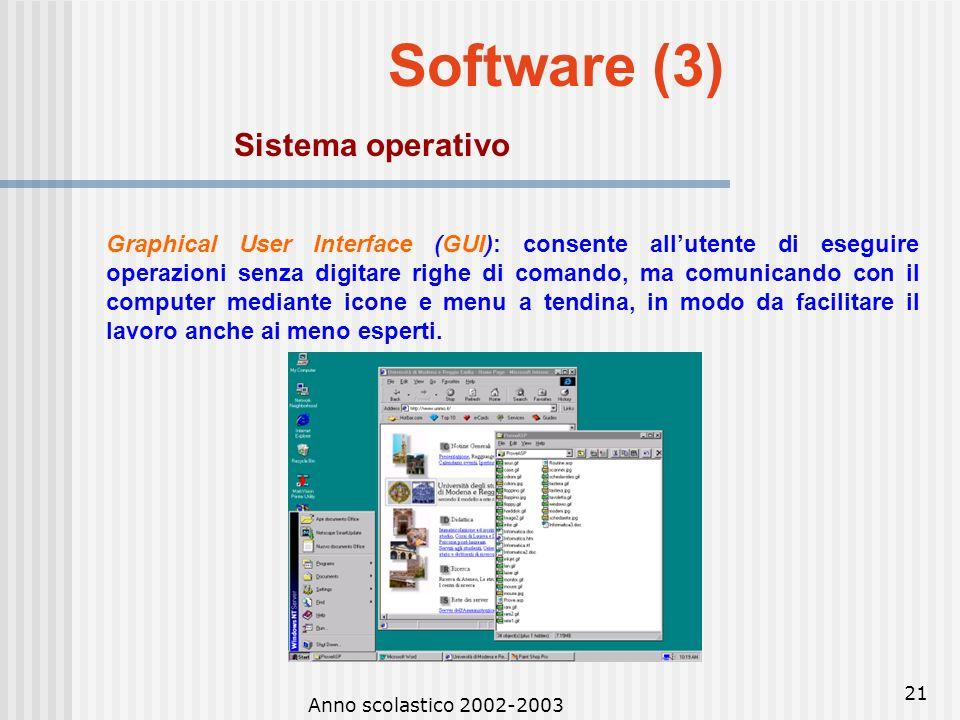 Anno scolastico 2002-2003 20 Software (2) Sistema operativo Sistema operativo: insieme di programmi che sovrintendono al processo di elaborazione face
