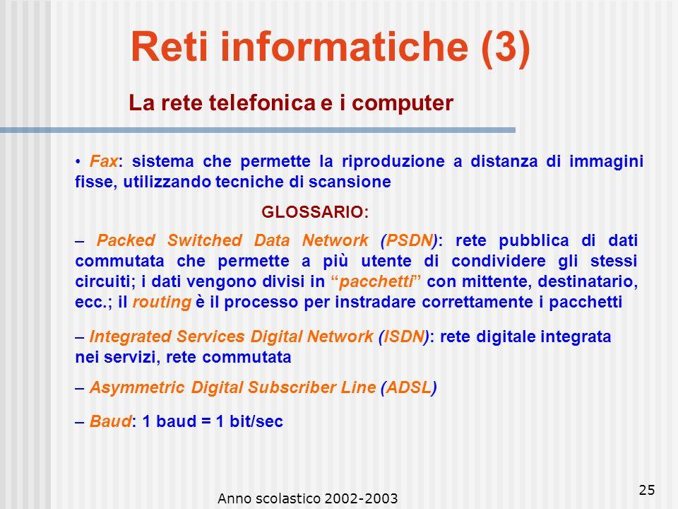 Anno scolastico 2002-2003 24 Reti informatiche (2) La rete telefonica e i computer Le linee o canali di comunicazione possono essere: – dedicate: unio