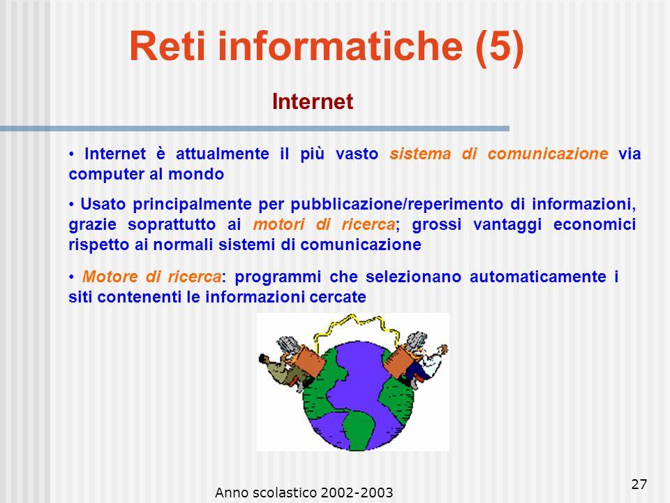 Anno scolastico 2002-2003 26 Reti informatiche (4) Posta elettronica Posta elettronica: è un servizio di comunicazione asincrona tra mittente e destin